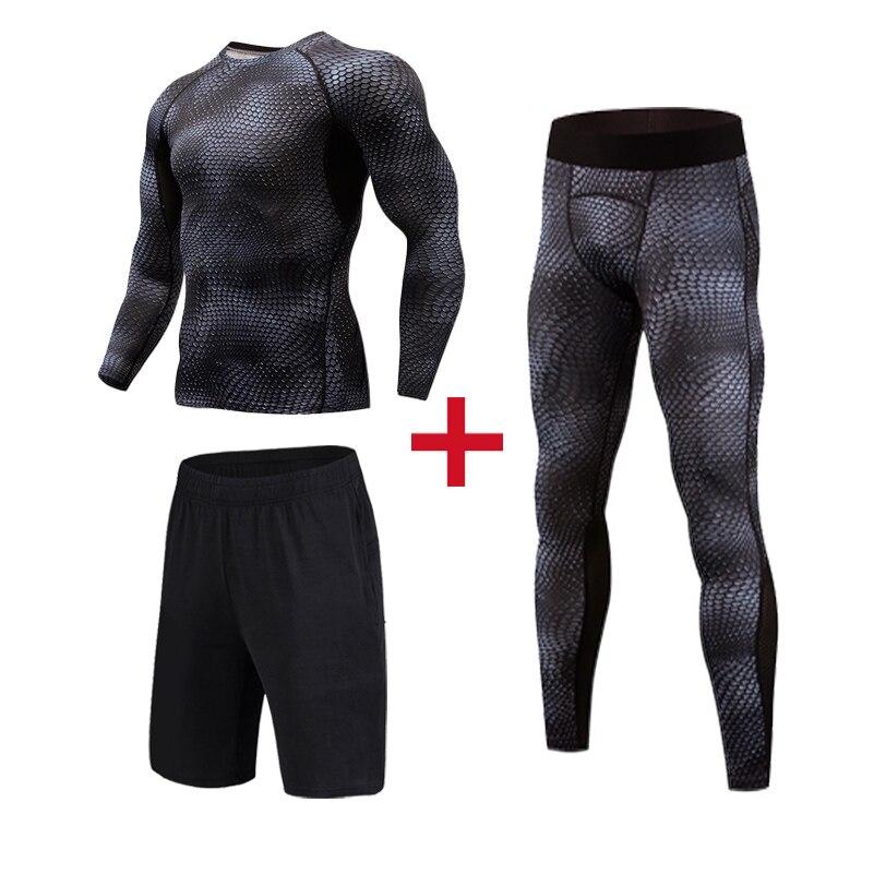 0e037c45a6abd Compression Pants Men Running Skinny Sweatpants Jogger Legging Men 3D  Printed Bodybuilding tights men Elastic Trouses 3pcs/sets