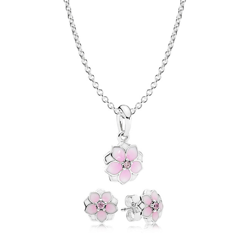 100% 925 Sterling Silver Magnolia Bloom Necklace and Earring Set fit charm original  Fashion Women jewelry100% 925 Sterling Silver Magnolia Bloom Necklace and Earring Set fit charm original  Fashion Women jewelry