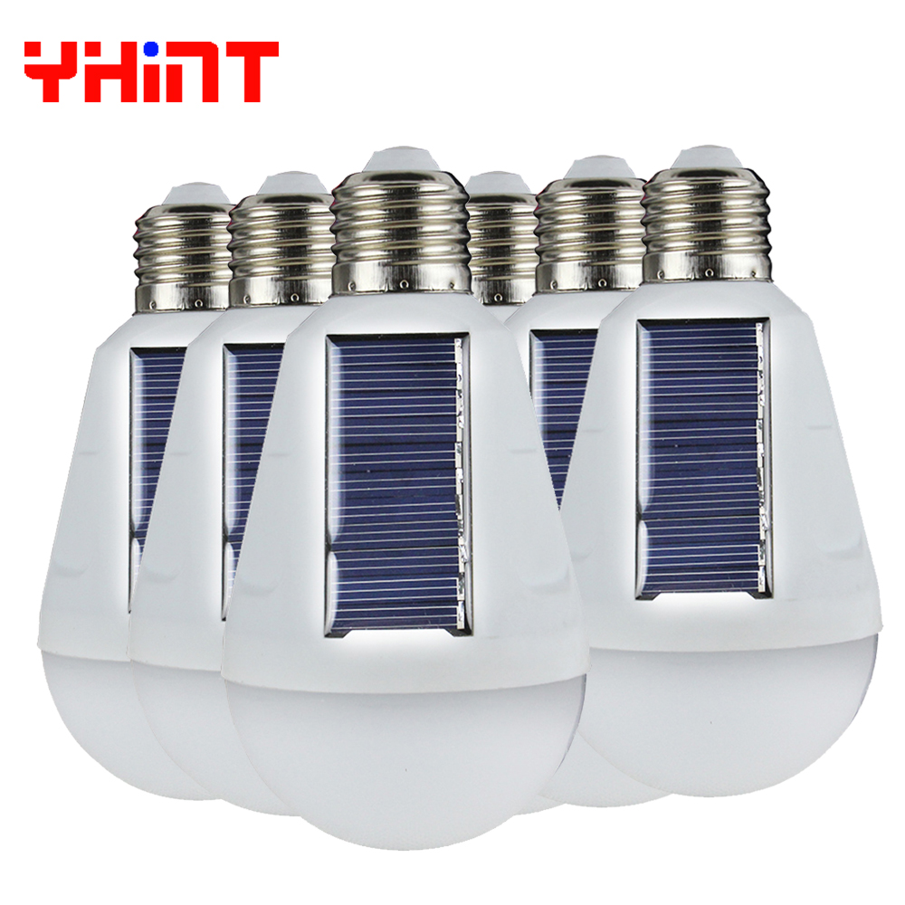 6pcs 7W Hot Sale 2017 New Solar energy emergency lamp bulb lighting Solar charging Working during power failure outdoor light cheaper hot sell solar energy small lighting system emergency lighting for camping boat yacht free shipping