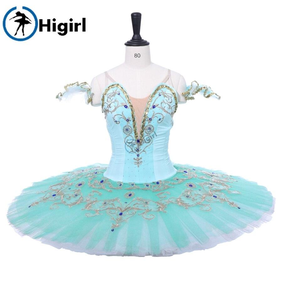 Costume de scène de ballet de compétition de performance de crêpe d'aqua costume de ballet professionnel adulte vert tutu de ballet classique BT9234B