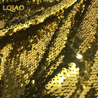 2017 New Golden Sequin Lace Fabric By The Yard Mesh Embroidered Little Stretch Allover Paillette Sequin Fabric For DIY Product
