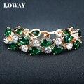 LOWAY Gold Plated Elegant Retro Charm Bracelet For Women Luxury Green AAA+ Zircon Femelle Bijoux SZ3840