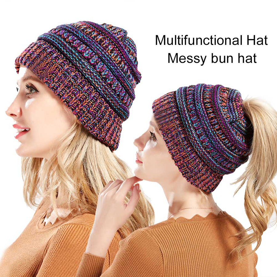 2550f65836b New Fashion Winter Hats for Women Ponytail Beanie Warm Women Cap Knitted Hat  Ponytail Hat Beanies for Ladies Bonnet WH368