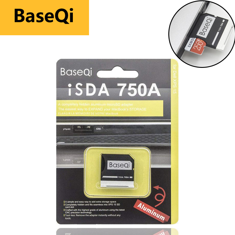 "BaseQi memory stick pro duo Memory Card Adapters 750A Ninja Stealth Drive For Dell XPS 15"" 9550 Micro SD Card Reader adaptador-in Memory Card Adapters from Computer & Office"