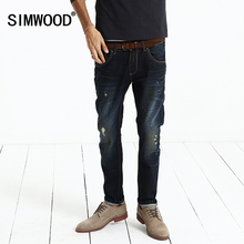 Jeans Men 2016 New Arrival Brand Men Jeans Hole Casual Slim Fit Straight Long Trousers Plus Size Free Shipping SJ616