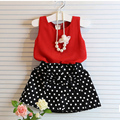 2016 Summer girls suit Bowknot skirt + vest 2 pieces Cool comfortable fabrics for children's clothing plus size hot sale