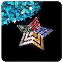 Blingbling Multicolored Rhinestone Star Brooch Pin Jewelry Gift