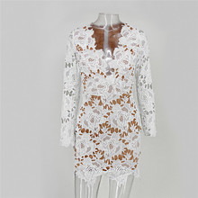 510aed0d4a1a Ohvera Floral White Lace Sexy Party Dress Women V Neck Bodycon Elegent Dresses  Summer Night Club