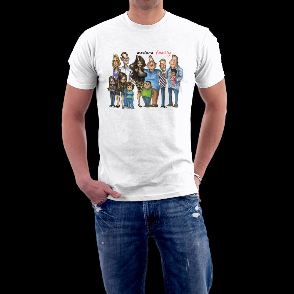 moderne famille caricature hommes coupe droite manches courtes t shirt o cou 100