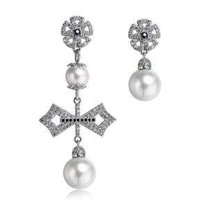 Новые ювелирные изделия из серебра 925 пробы с бантом, подлинные серьги с австрийскими каплевидными снежными кристаллами, модные женские сер...