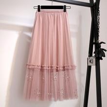YICIYA midi tulle mesh skirts pink for girls women midi skirt plus size large beading high waist summer 2019 elegant clothing
