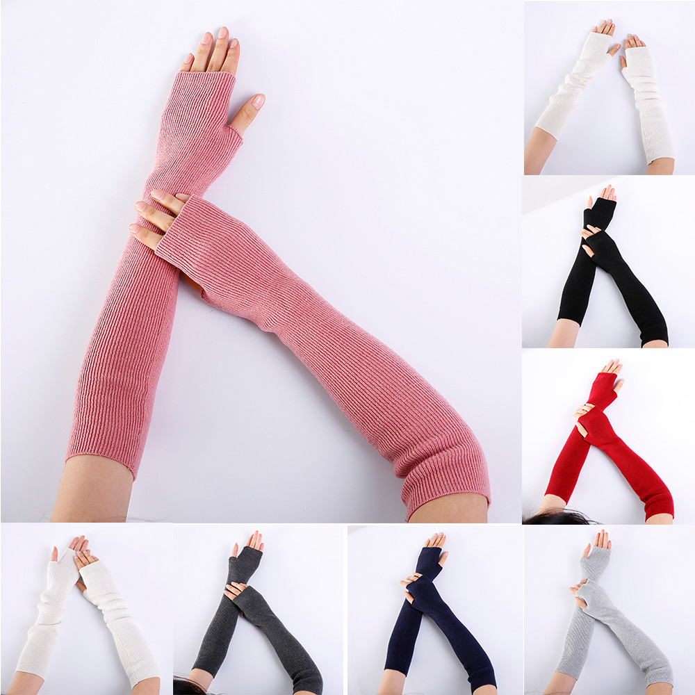 Women Arm Warmer Solid Cashmere Knitted Soft Long Fingerless Gloves Mitten Knitting Wool  100% Brand New And High Quality 45*8cm