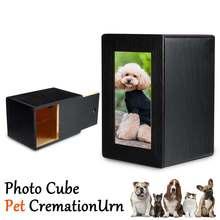 Деревянный фото куб ПЭТ Кремации черная урна Pet памятный сувенир урна для домашних животных или человеческого пепла 10,4x10,4x16 cm