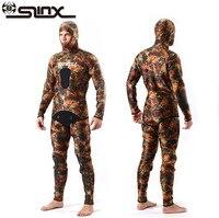 SLINX 5 мм неопреновый мужской Камуфляжный купальный костюм для подводной охоты с капюшоном из двух частей дайвинг гидрокостюм для дайвинга Э