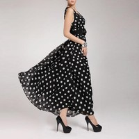 Fashion Women S Chiffon Polka Dot Long Sleeveless Maxi Party Dress Gown Plus Sizes Hot