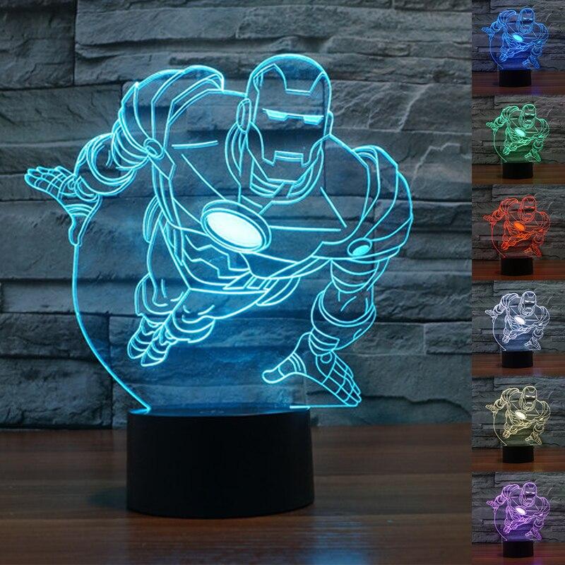 Nouveau fer coloré homme 3D lampe de Table Luminaria LED veilleuses enfants chambre éclairage décoratif grand cadeau pour les enfants