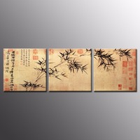 3 Pcs Set Traditional Chinese Ink Bamboo Painting Prints On Canvas Retro Bamboo Calligraphy Wall Picture