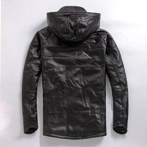 Image 2 - จัดส่งฟรี.PlusขนาดชายCowhideเสื้อ,ผู้ชายของแท้หนังฤดูหนาวCoatผ้าฝ้ายอุ่นหนาหนังเสื้อผ้า
