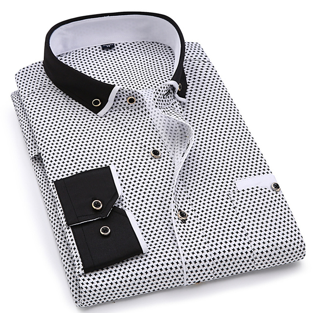 2019 Men Fashion Casual Long Sleeved Printed shirt Slim Fit Male Social Business Dress Shirt Brand Men Clothing Soft Comfortable 1