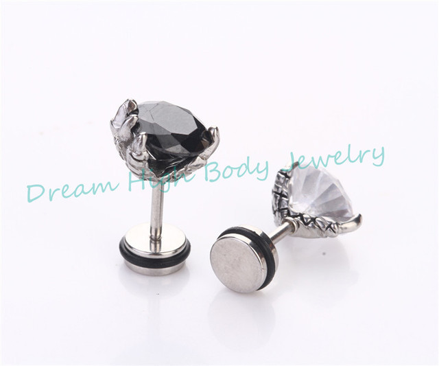 cd6d0312e2bfa US $24.68 5% OFF|New Dragon Claw Clear Black Round Zircon Men's Earring  Barbell Ear Stud Ring Nail For Women Girl Stainless Steel Ear Nail -in Stud  ...