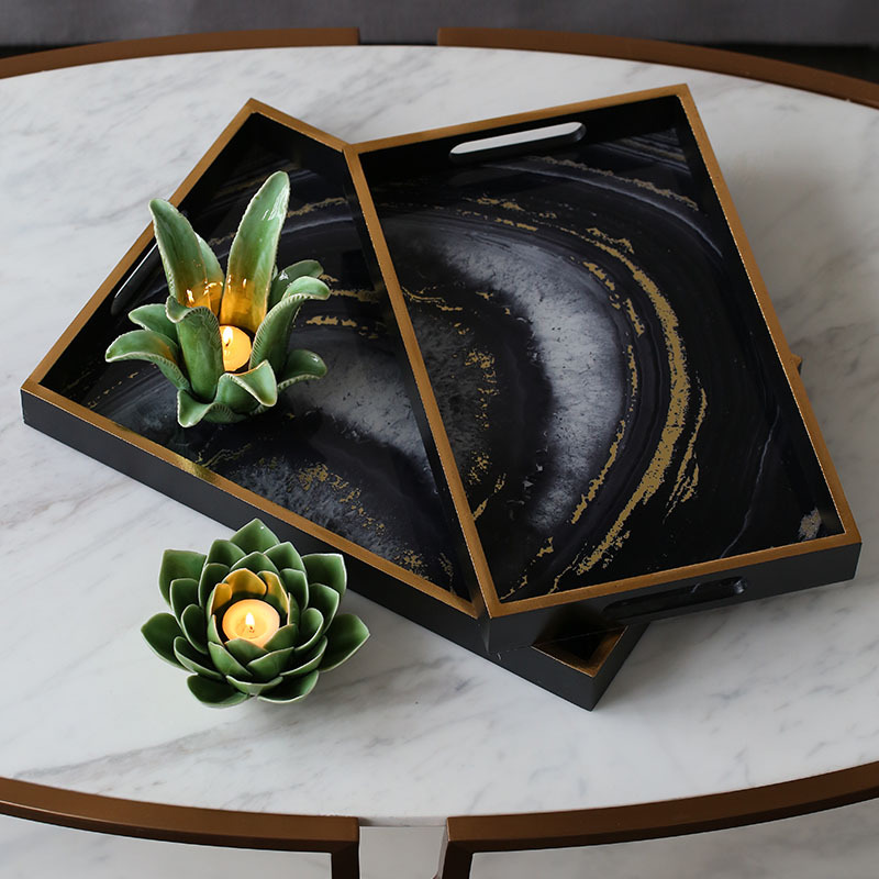 Agate Tray Serving Plate Luxury Design Hotel Bar Party Decor Jewelry Storage Plate glass agate-in Tea Trays from Home & Garden    1