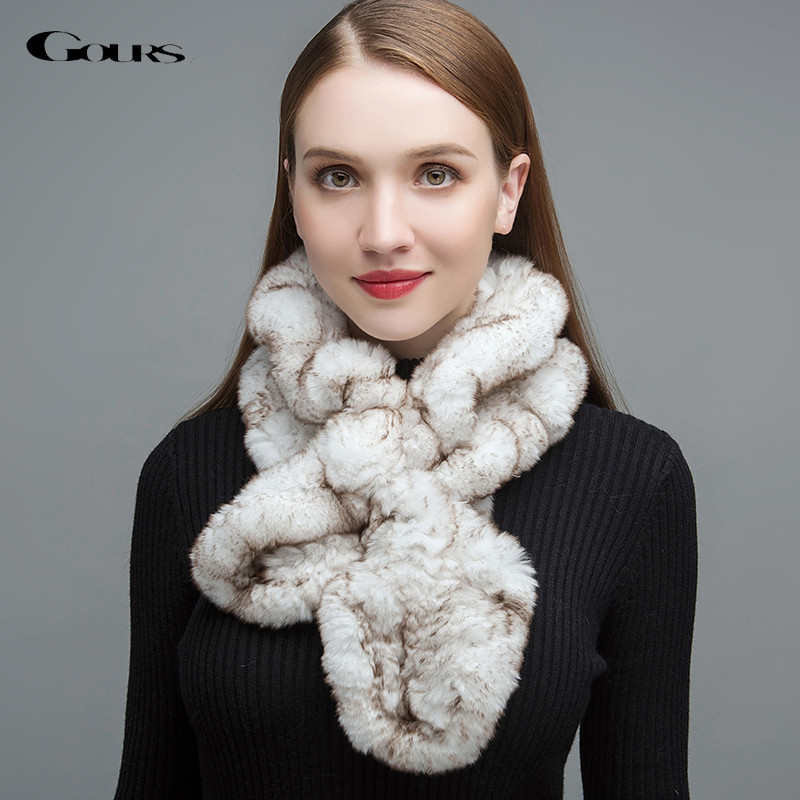Gours Real Fur Scarf for Women High Quality Natural Rex Rabbit Fur Scarves Thick Warm Winter Fashion Floral Falbala New GLWJ019