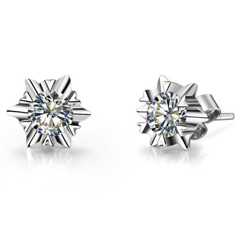 Earrings 14K Diamond Stud Jewelry Gold White Engagement 1ctpiece Snowflake Romantic Graceful