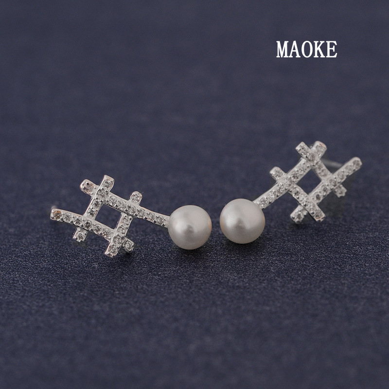 Promotions Fashionable Celebrity Inlay Zircon Wells Shaped Pearl 925 Silver Ear Studs Fashion Jewelry for Women's Fashion Gifts