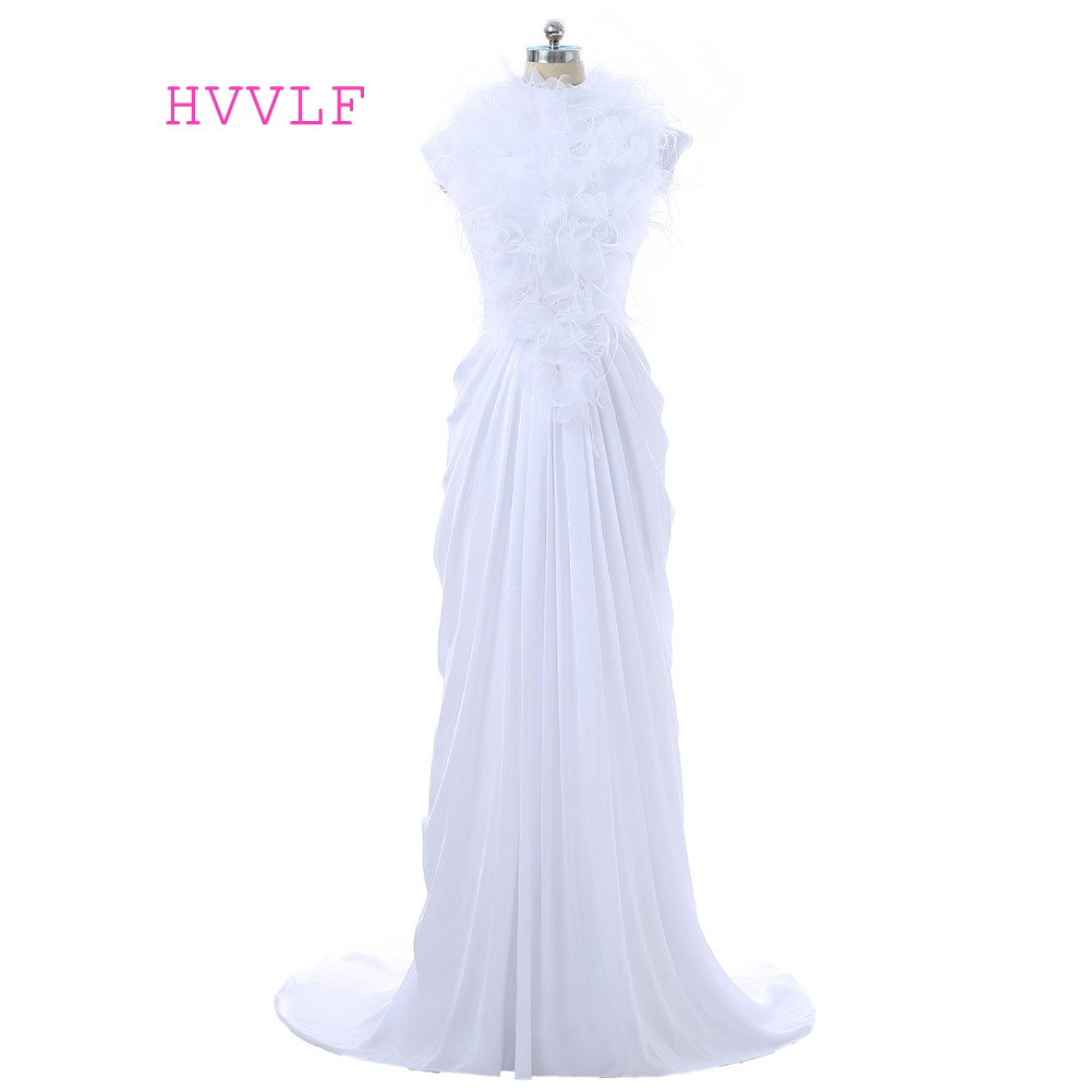 White 2019 Formal Celebrity Dresses Mermaid Cap Sleeves Chiffon Lace Feather Open Back Long Evening Dresses Red Carpet Dresses