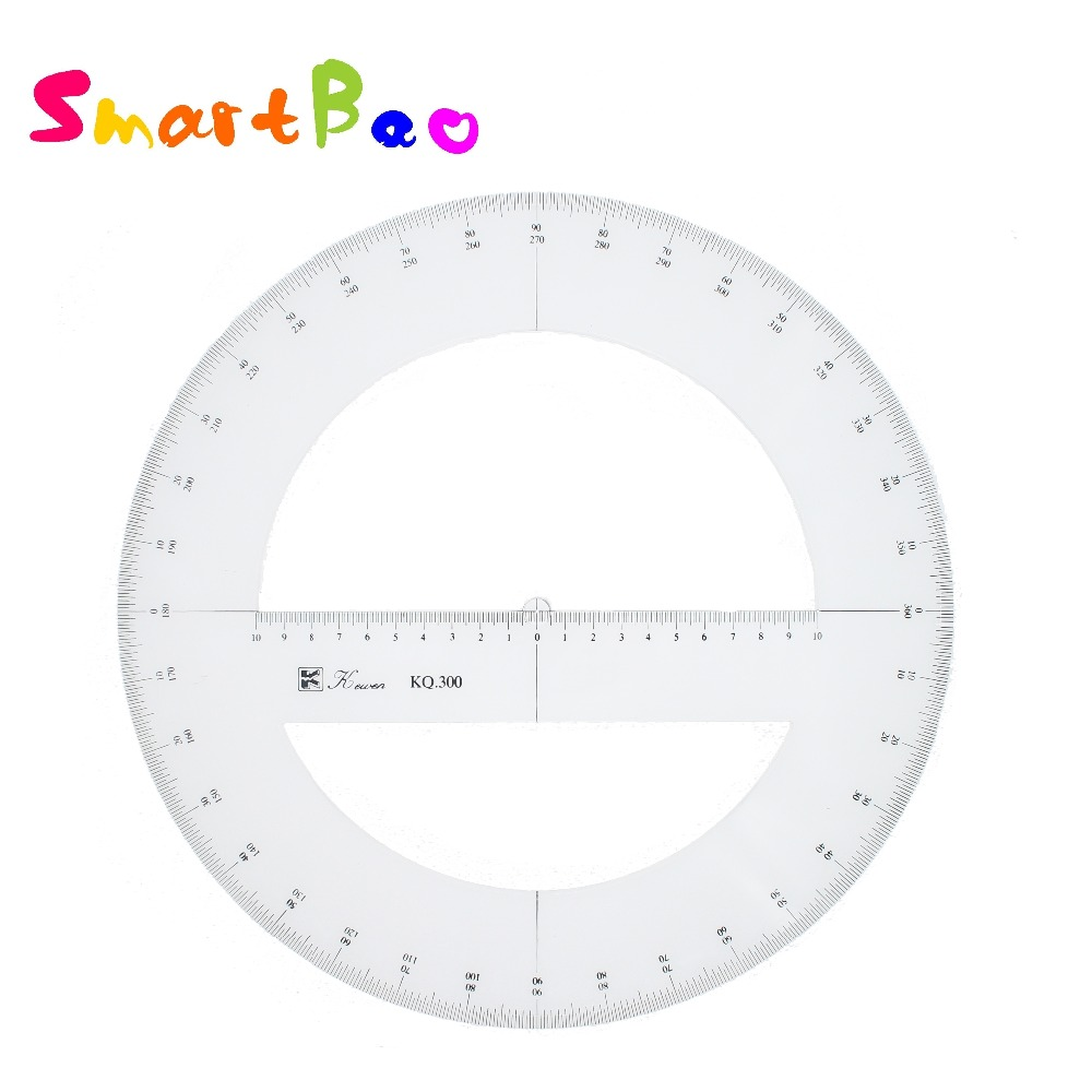 360 Degree Protractor Double Scale Value Diameter 30cm Ruler, Beveled Edges   KQ300