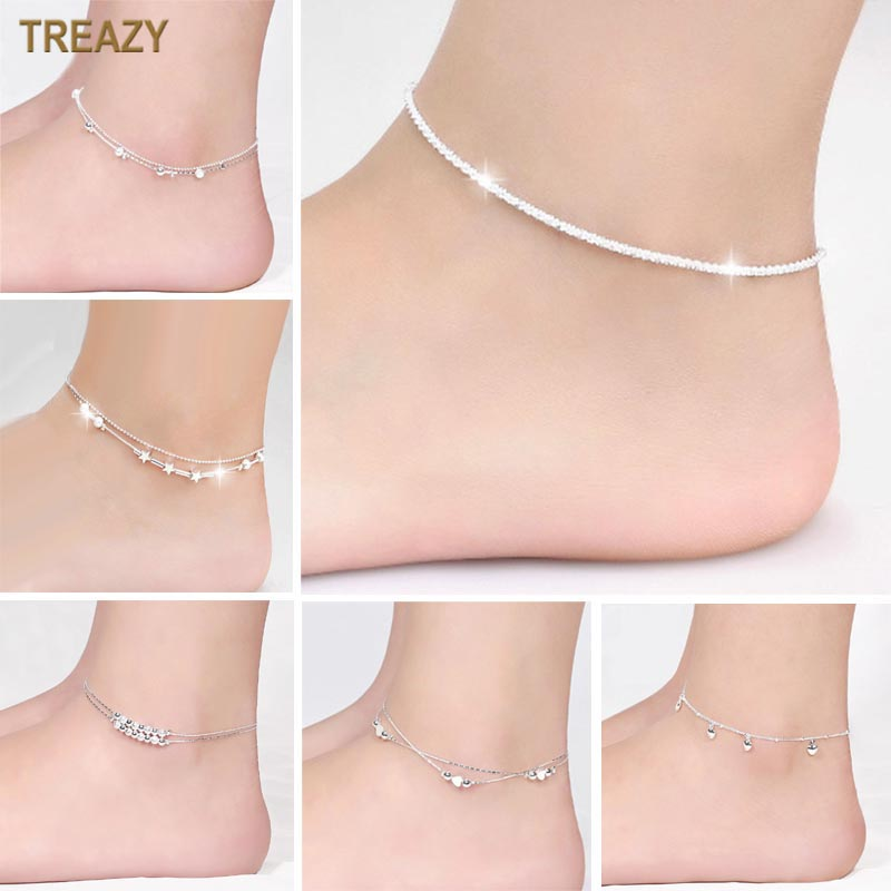 Trendy Silver Plated Beaded Anklet Heart/Flower/Hemp Rope/Bell/Animal Foot Chain Ankle Bracelet Women Summer Jewelry Gifts