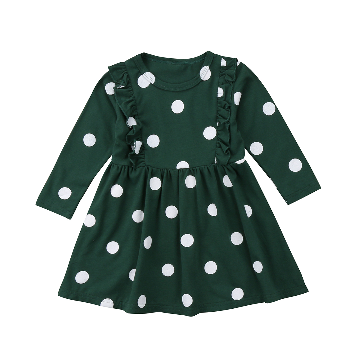 Girls Dress 2018 Brand Dot Printing Princess Dress Spring Style Long Sleeve Dress for Children Clothes vintage style scoop neck printing long sleeve dress for women