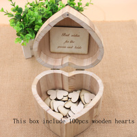 Personalized Wedding heart guest book, Rustic wedding guestbook, Custom Wooden Rectangle Keepsake box with 100 hearts
