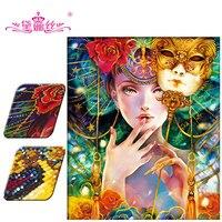 DaiNasi 3D Diy Diamond Painting Diamond Embroidery Special Shaped Diamond Embroidery Girl Women Mask Decoration Christmas