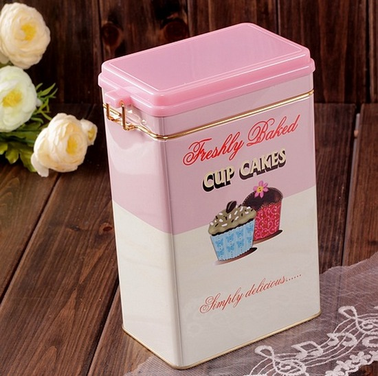 Cupcake Canisters For Kitchen: Retro Large Pink Cupcake Kitchen Coffee Tea Sealed