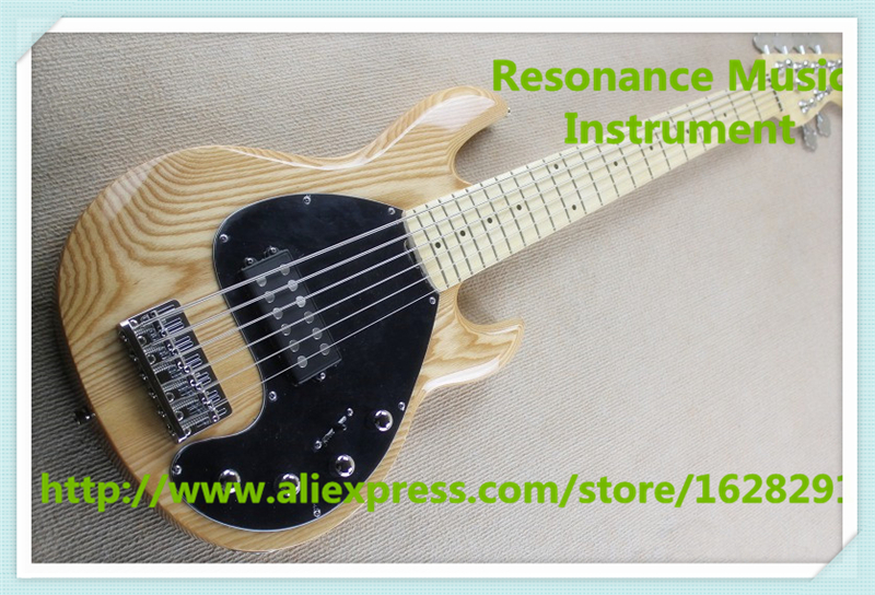 Hot Selling China Ash Body 6 String Suneye Music Man Electric Bass Guitar In Natural Wood For Sale