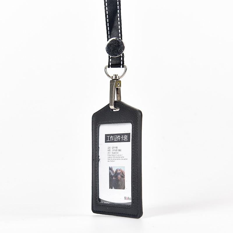 Купить с кэшбэком Nahoo Genuine Leather Identity Badge Holder Exhibition Staff Card Lanyard Id Nurse Badge Holder Candy Bank Credit Business Card