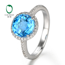 2.75ct 14K White Gold Natural Flawless Blue Topza & Diamond ring, Wholesaler Jewelry