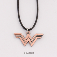 2 Colors DC Wonder Woman Logo Pendant Comic Geek Necklace with Leather Cord Marvel Super Heroes Jewelry