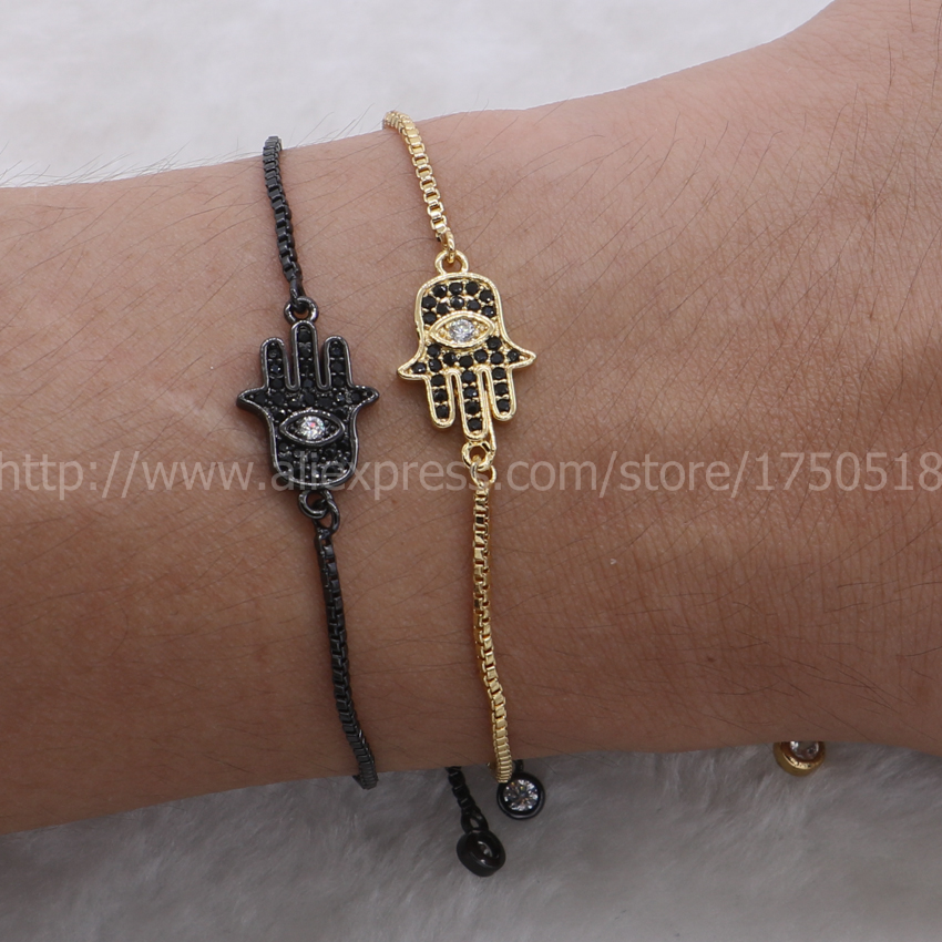 Women bracelets, micro pave cz hand & Turkish eyes pendant Islamic Arabic jewelry adjustable chain Macrame bracelet 798