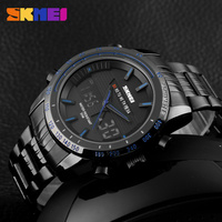 Skmei Men Watches Men Clock Sports Fashion Casual Watches Brand Dual Display Watches LED Digital Steel Strap Luxury Wristwatches