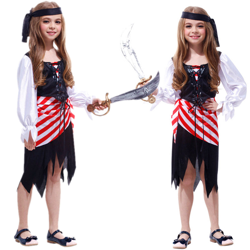 Quality Halloween Costume Ball Children's Performance Costume Cosplay Terrorist Caribbean Pirate Costume Children's Party Costum