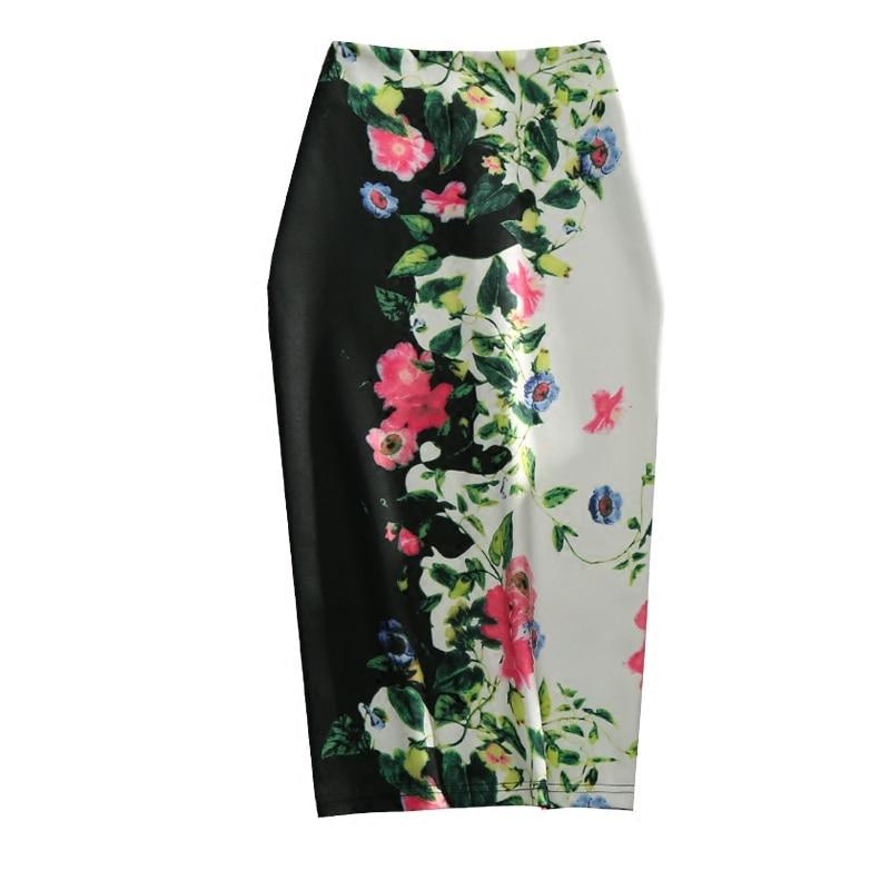 longitud Cintura Floral Verano Elegante Impreso Mujeres De Micosoni Faldas Falda Oficina Decoración 2018 Señora Rodilla Nuevo Las Imperio Flor gqnpPHI