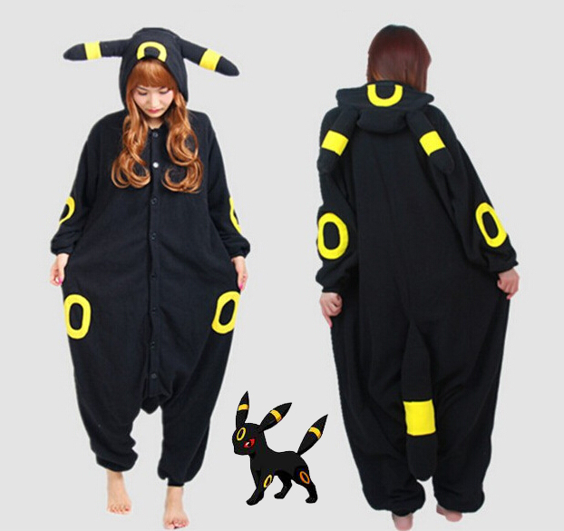 Pokemon Go New Anime Cartoon  Umbreon Romper Polar Pajamas Cosplay Costume Animal Onesie Night