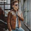Men's pigskin real leather jacket Genuine Leather jackets Motorcycle bomber jacket coat men