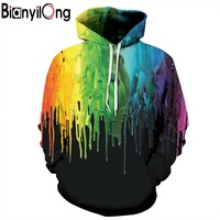 BIANYILONG New Fashion Hooded Hoodies Men Women Autumn Winter Thin Style Splash Paint 3d Sweatshirts Unisex