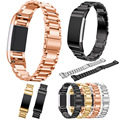 Luxury Stainless Steel Watchband for Fitbit charge 2 Wrist Strap Smart Watch Wristwatch For Fitbit Band with Connector Rose Gold