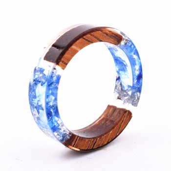 Handmade Flowers Wood Resin Ring23
