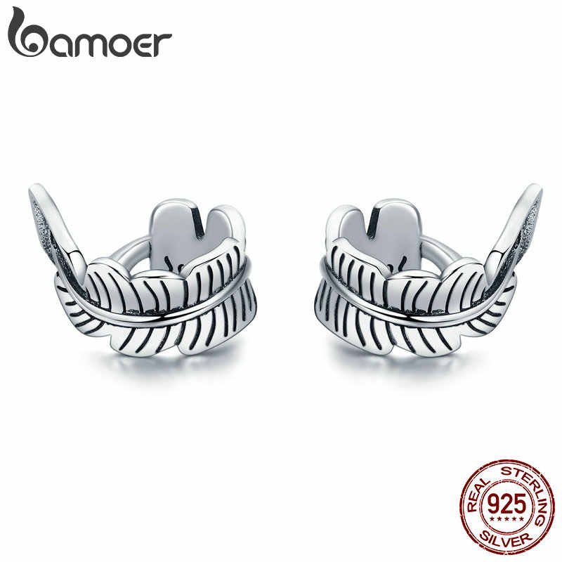 BAMOER High Quality 100% 925 Sterling Silver Vintage Tree Leaves Ears Clip for Women Vintage Sterling Silver Jewelry Gift SCE405