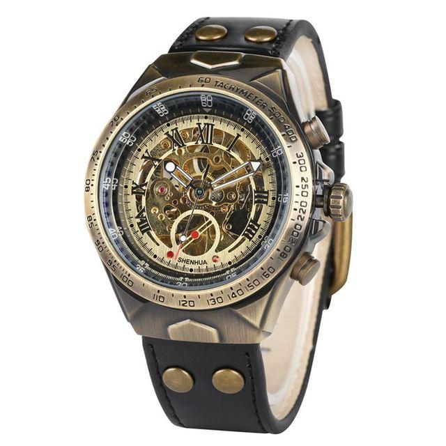 Automatic Watches Men Mechanical Watch Skeleton Bronze Steampunk Transparent Self Winding Mens Watches Retro Leather Man Clock   Fotoflaco.net